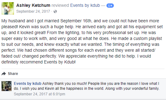 Review from facebook about great wedding services. DJ Kdub, MC, DJ, Music, Oregon, Entertainment, Receptions, Weddings, Speaker system, Reviews