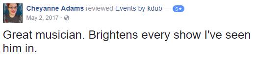 Review from facebook about great wedding services. DJ Kdub, MC, DJ, Music, Oregon, Entertainment, Receptions, Weddings, Speaker system, Reviews DJ Kdub, MC, DJ, Music, Oregon, Entertainment, Receptions, Weddings, Speaker system, Reviews