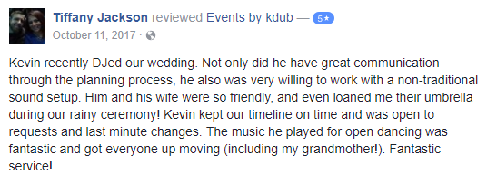 Great wedding feedback from facebook. DJ Kdub, MC, DJ, Music, Oregon, Entertainment, Receptions, Weddings, Speaker system, Reviews