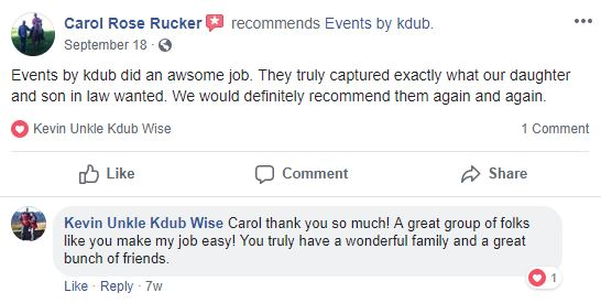 Review from facebook about great wedding services. DJ Kdub, MC, DJ, Music, Oregon, Entertainment, Receptions, Weddings, Speaker system, Reviews Events by Kevin Wise; Events by Kdub; Oregon DJ; Wedding DJ; Professional wedding mc; Dance Wedding Reception;