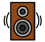 Speaker playing audio at a party by Events by Kdub